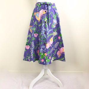 Vtg SANIBEL SPORT Floral Butterfly Pleated Skirt